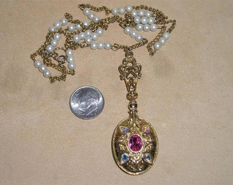 Vintage AB Rhinestone Locket Pullover Necklace With Faux Pearls 1970's Jewelry A86