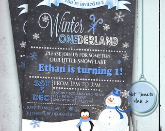 Winter Onederland Invitation- One year old birthday Invitation- Boy 1 year old Winter Wonderland-Blue Birthday - Digital Printable 5x7