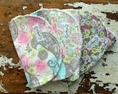 Baby Girl Bibs OR Burp Cloths - Limelight Set of 3 - Parakeet, Paisley & Floral - gray, pink, green, aqua