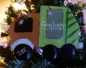 Personalized garbage truck ornament boys country name ornie