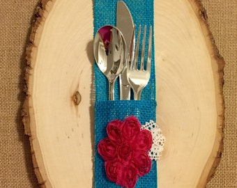 Burlap Silverware Holder with hot pink fuchsia fabric flower - Set of 4 Easter Spring Summer