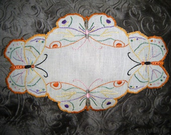 Vintage Hand Embroidered Butterfly  Doilie