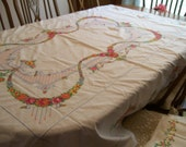 Gorgeous Embroidered Tablecloth Vintage Hand Stitched Bright & Colorful