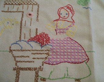 Monday Stitched Towel Vintage Days of the Week Cross Stitched Laundry Day Towel