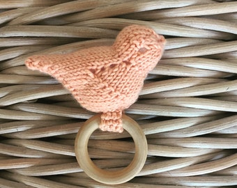 Knitted Bird Rattle - Peach
