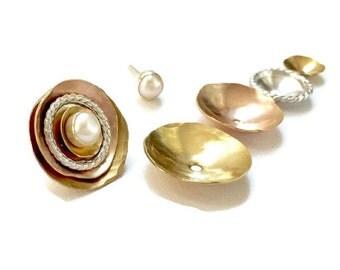 Pearl Cluster Stud Earrings, Bride Earring, Wedding Jewelry, Rose Ear Jacket, Gold Ear Jacket, Earring Jacket, Pearl Earrings, Coco Loco