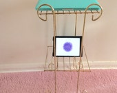 Gold Metal Wire Stand Two Shelves / Charging Station / Towel Stand / Telephone Stand / Magazine Stand / Plant Stand / Mid Century Modern