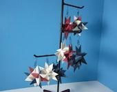 8 Origami Star Ornaments in Burgundy, Cream, and Navy Blue / German Star / Froebel Moravian Star / Handmade