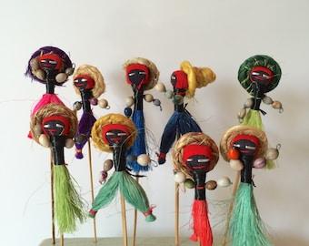 Handmade Straw Dolls on a Bamboo Skewer Stick Kabob Picks Hors d'oeuvres Boho Caribbean Straw Dolls Sandwich Sticks Jamaican Moroccan