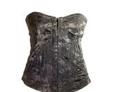 Vintage Black Floral Brocade Strapless Corset. U.K Bra Size 34/36 B Cup.