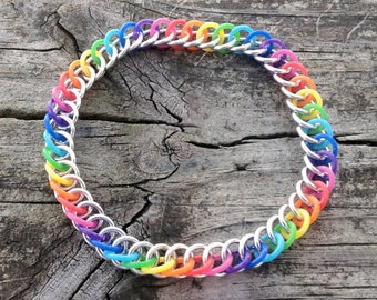 Rainbow Rubber Half Persian 3 in 1 Chainmaille Bracelet