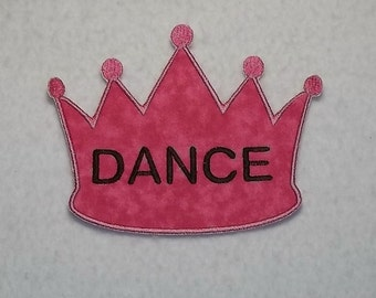 Dance Princess Crown - MADE to ORDER - Choose COLOR and Size - Tutu & Shirt Supplies - fabric Iron on Applique Patch z 7208