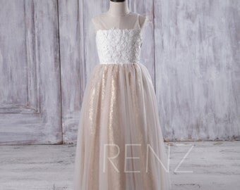 2016 Off White Soft Tulle Junior Bridesmaid Dress Long, Gold Sequin Flower Girl Dress, Lace Illusion Neck Children Dress Beading (LK120)