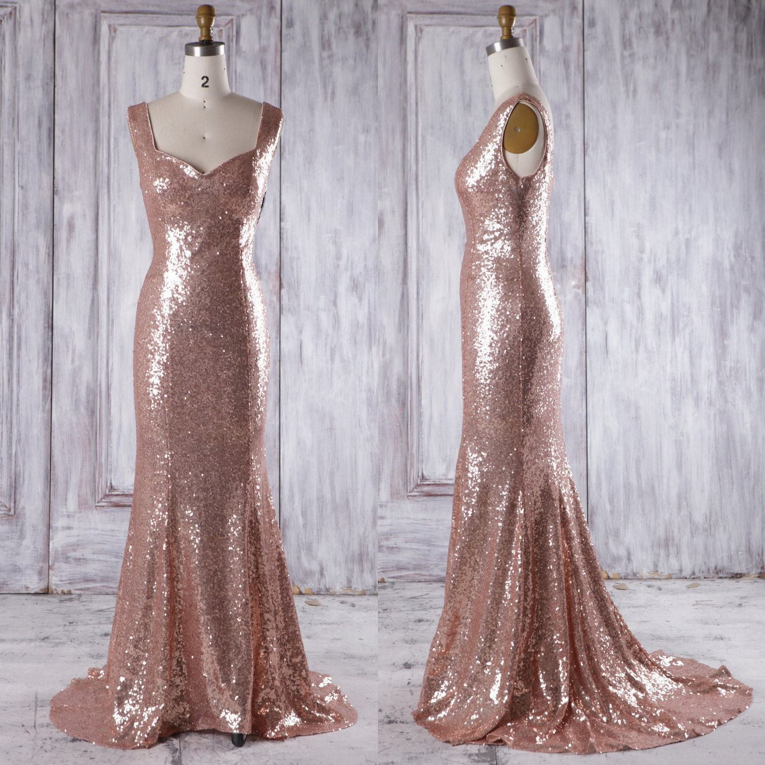 Gold Bridesmaid Dresses: 2017 Rose Gold Bridesmaid Dress With Train Luxury Evening