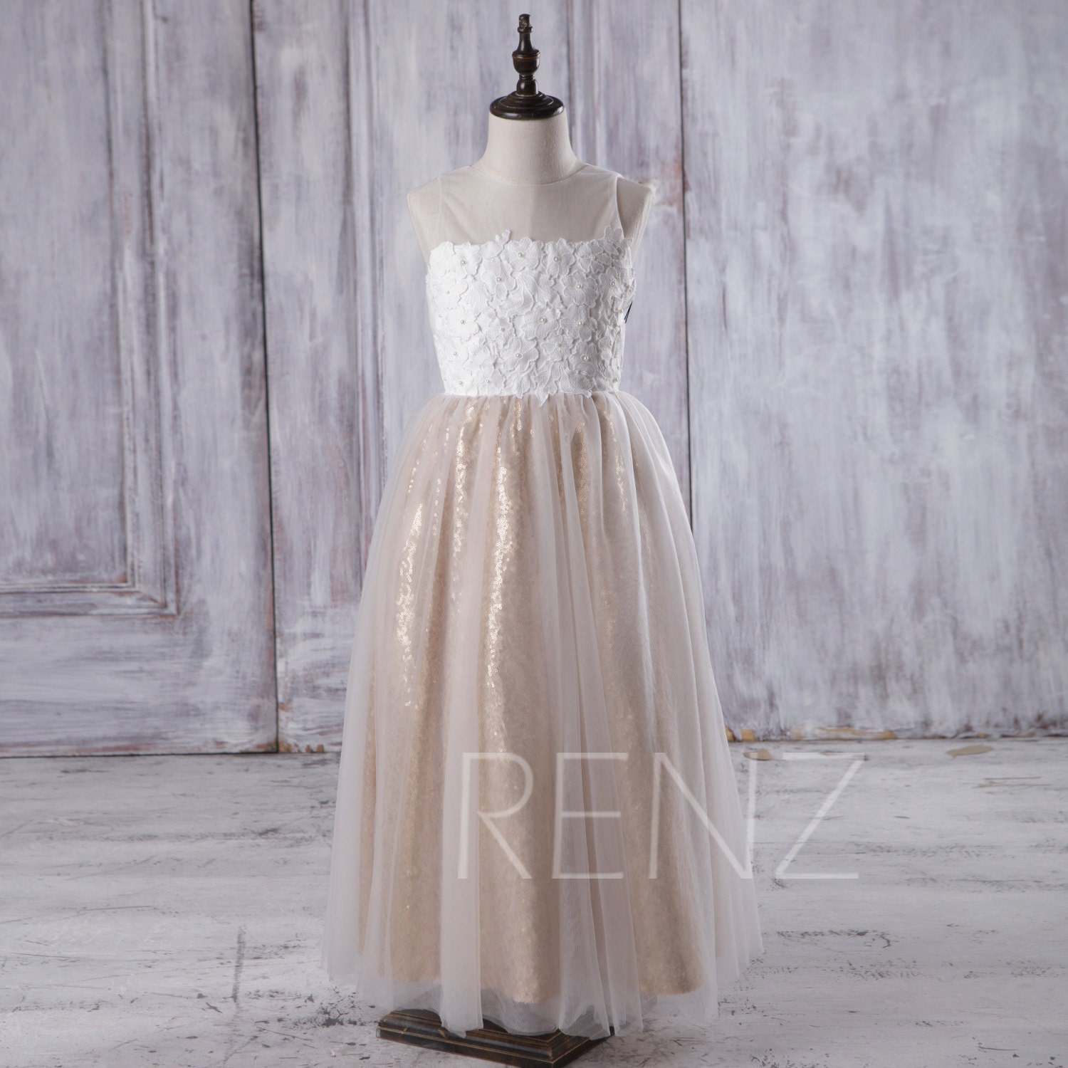 2017 off white soft tulle junior bridesmaid dress long gold zoom ombrellifo Gallery