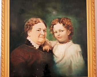 Oil Painting Young Girl and Grandmother