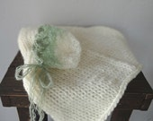 Cream Chunky Mini Blanket/ Newborn Mohair Bonnet Set Photo Prop, READY TO SHIP