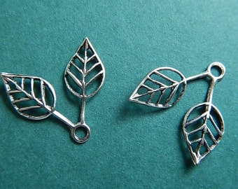 2 Pc Double Leaves Filigree Matte Silver Oxidized Plated Brass One Sided Leaf Leaves Jewelry Altered Art
