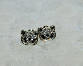 Panda Rhinestone Stud Earrings Handmade