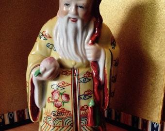 Vintage Chinese porcelain figurine, God of Longevity