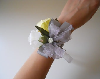 Ivory, Yellow Roses Wrist Corsage with rhinestone Accent