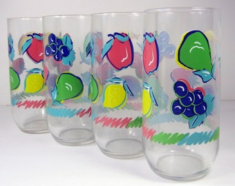 Vintage FRUIT TUMBLERS Set/4 Cherries Glass NIP New in Package Durand Luminarc