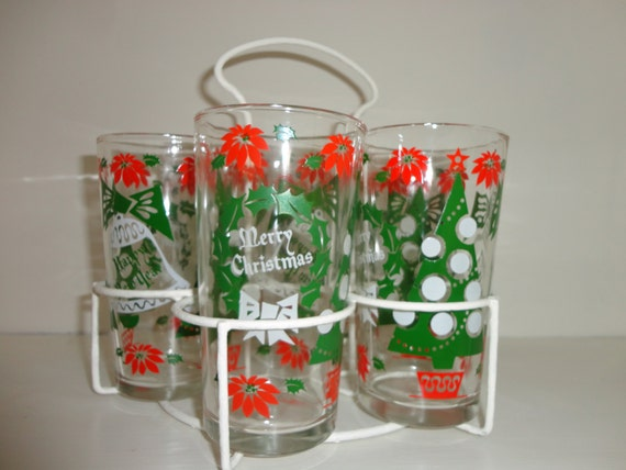 Christmas drinking glasses and holder