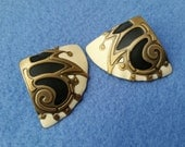 Vintage Berebi Pierced Enamel Earrings - ivory, black, and antiqued gold
