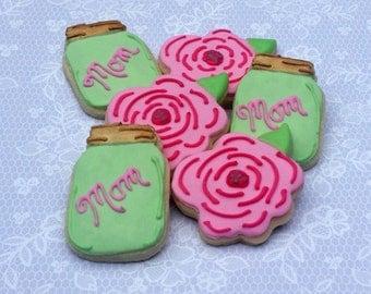 Mother's Day Mini Sugar Cookies - Mason Jar Cookies- Flower Cookies - 2 1/2 DOzen Mini Cookies