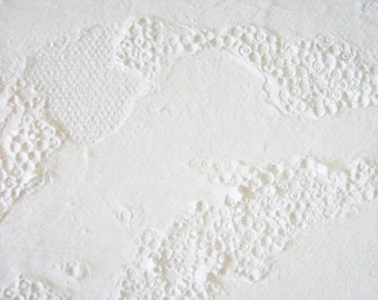 All White Painting - Lunar Topography no.2 / Topographie lunaire no.2 - acrylic, clay, abstract, moon, urban chic, textured wall art, 4x4