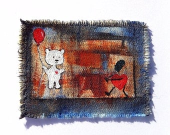 Red ballon white bear and heart original art patch painting