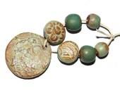 Ceramic Bead Set & Pendant Stoneware Handmade Pottery Beads Mint Biscuit Teal