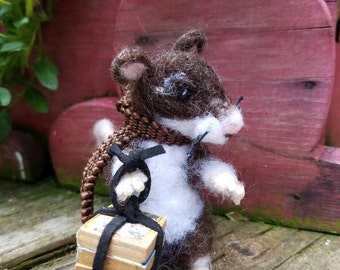 "Needle Felted Brown Mouse ""Back to School"""