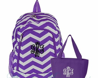 Personalized Chevron Purple Backpack and Lunch Tote Set Zig Zag Pattern Full Size Bookbag and Lunch Tote with Monogram FREE