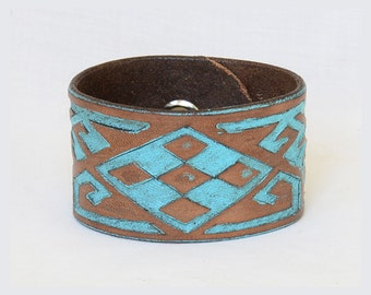 Turquoise Leather Cuff Bracelet, Unisex Leather Cuff Bracelet. BOHO Leather Cuff Bracelet, South Western Cuff, Gifts Under 20