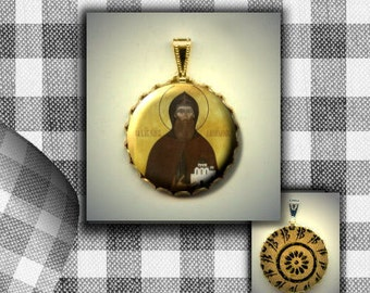 St Daniel of Moscow Orthodox Saint icon flat metal CABOCHON in Brass Charm / Pendant