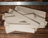 """Leather Scraps Strips, Cream Colored, Paper Backed, 34 Pieces ~1.5""""x11"""", Leather Destash"""