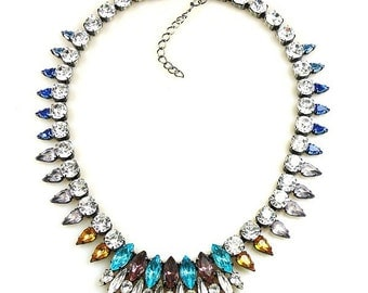 Luxury Swarovski Navette Rhinestone Necklace aqua tones  - GYPSY PRINCESS
