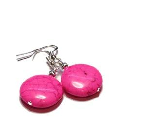 Hot Pink Earrings - Pink Magnesite Dangle Drop Earrings - Coin Earrings - Dangle Earrings - Gypsy Earrings Fuchsia Earrings