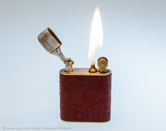 Working 1920s American Potter Lift Arm Pocket Lighter With Leather Covering