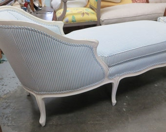 Blue and White Antique French Chaise - Totally Refurbished