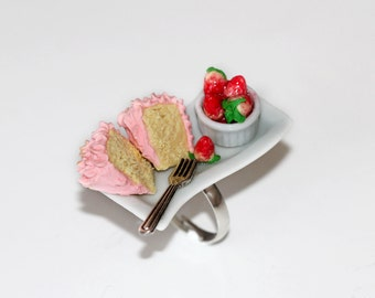 Pink Pastry Ring - Tea Party Ring - Pink Frosted Cake Ring - Food Ring - Miniature Food Jewelry - Tea Party Jewelry - Strawberry Jewelry