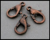 BULK 100 Antiqued COPPER 12mm Lobster Clasps - 12X6mm Nickel Free Alloy Metal Lobster Claw Clasp - USA Wholesale Clasp - Instant Ship - 6740