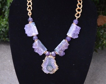 Amethyst Stalactite Pendant and Amethyst Druzy Necklace