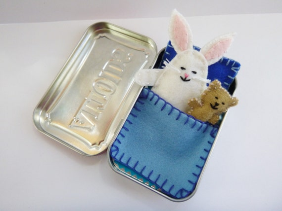white felt bunny in tin - Wee Bunny in Altoids Tin House w/ blue bedding - felt bunny - travel toy - pocket toy - purse toy - ready to ship