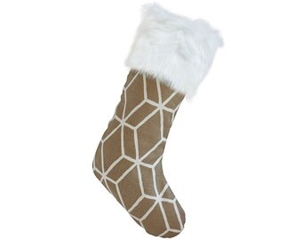Christmas Stocking - Brown & White Graphic Diamond Christmas Stocking