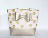 Bow little girl purse in blush and gold
