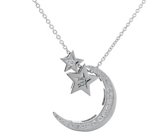 white gold diamond crescent moon and stars necklace, 2 stars and moon diamond necklace