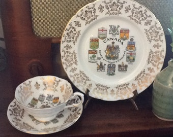 Vintage Paragon Teacup and Saucer Plate England Canada Coats of Arms Series