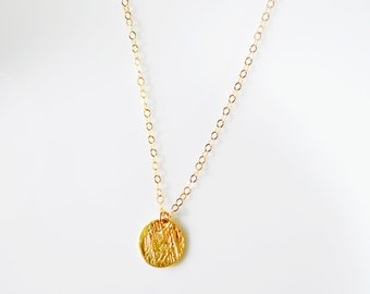 Gold Dot Necklace, Hammered Dot Necklace, Gold Disc Necklace, 14kt Gold Filled, Small Circle Necklace